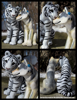 White Tiger And Wolf Wedding Topper Set by WildSpiritWolf