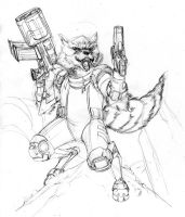 Rocket Raccoon wip by SpiderGuile