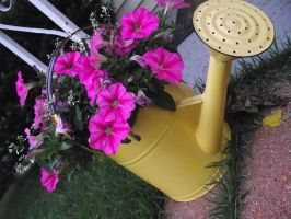 Flowers in a Watering Can by MyUnicornIsButter