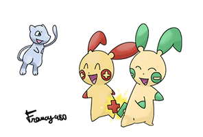 Shiny Mew, Minun and Plusle by francy980