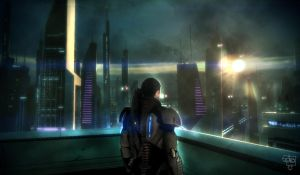 Mass Effect 2 screen city view by BlackAssassiN999