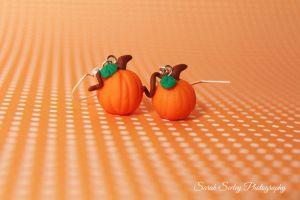 Miniature Pumpkin Earrings by CharmStop