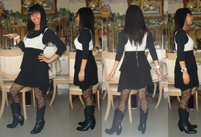 Me in my black and white dress for Pot Luck party by Magic-Kristina-KW
