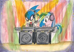Sonic and Vinyl Scratch by SoulEaterSaku90
