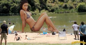 Giantess Cassie Ventura at the lake by lowerrider