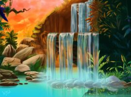 Lion King Waterfall (Can you feel the love tonight by YunakiDraw
