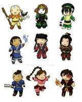 Avatar: Airbender Chibi Set by Tamao