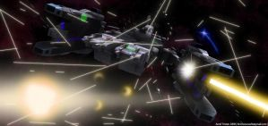 SDF Macross in battle by AurelTristen