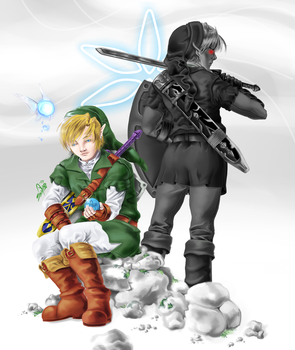 Dark Link and Link by sdmarquez