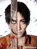 Shingeki no Kyojin Eren cosplay Titan and Human by yukigodbless