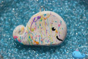 Rainbow Splatter Whale Necklace by Shelby-JoJewelry