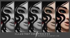Illustration process, Amelia by rafaarsen