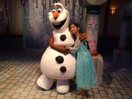 I lay my head on Olaf's shoulder with winter love by Magic-Kristina-KW