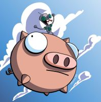 GIR on a flying pig final by industrialstudios