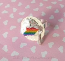 Rainbow Cake on a Plate Ring by CantankerousCupcake