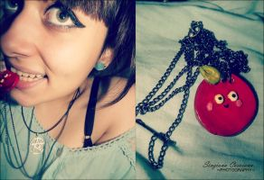 Red apple necklace. by BloodyPentagram