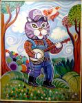 Cat with Banjo 2 by hyronomous
