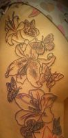 1 session Flower Butterfly tat by 2Face-Tattoo