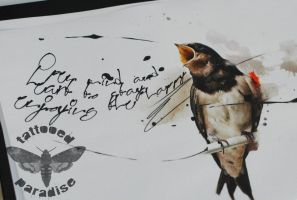 swallow watercolor by dopeindulgence