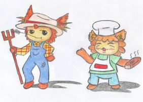 Drawn to life: Farmer Brown and Chef Cookie by evilbackpackgirl