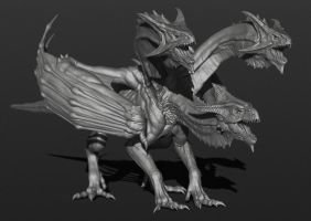 3 heads dragon (sculpt) by cvbtruong