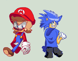 mario and sonic change colored by supermarioguy