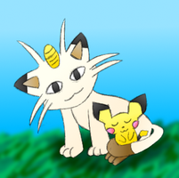 Meowth And Faith Colored by MikariStar