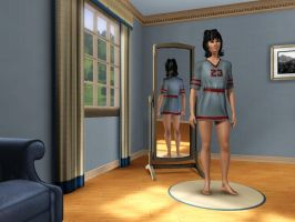 Sims 3: Human Kitty Katswell in nighttime outfit 1 by Magic-Kristina-KW