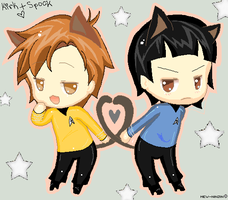 kirk and spock- neko chibis by CookieCrazy