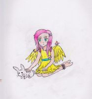 Fluttershy person thing with angel by Kira-Mint-Tsuneo