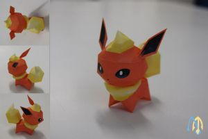 Flareon Chibi  Papercraft by aquametal