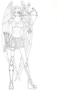 Cupid (Ethos) - ROTG OC (Lineart) by Blue-Moon-Angel