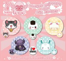 Kawaii Pocket Mirrors and Pin Badges Design by TomodachiIsland