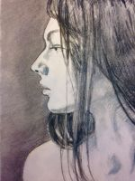 A damsel in charcoal by Henribe