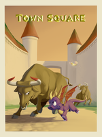 Spyro the Dragon: Town Square (PS1 tribute) by CorvusRone
