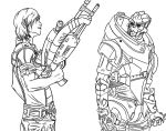 Shepard and Garrus Lineart by DerP3ter