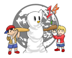 Smash Advent no.14: Ness and Lucas by Xero-J