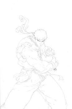 SF Remix Ryu Cover Lineart by theCHAMBA