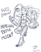 Kleo Hercules Beetle Mode Sketch! by MinionKing
