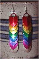 Rainbow Dragon Scale Earrings by TehAngelsCry