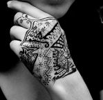 hand india ink tattoo by 7Scorpio1992