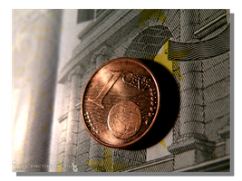 1 Cent Euro Coin on a 5 Euro Bill by WillFactorMedia