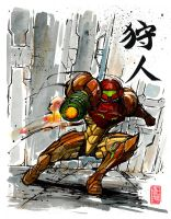 Samus from Metroid with calligraphy by MyCKs