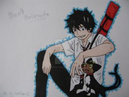 Fanart Rin Okumura and Kuro - Ao no exorcist by DarkWolf-Zahlia