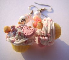 Cupcake n Pearl Earrings by Toxic-Muffins-Studio