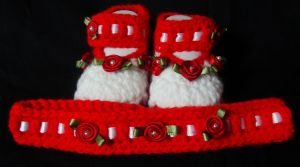 Blooming Booties-Red and White by Crochet-by-Clarissa