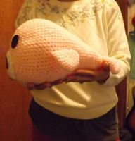 Large Pink Amigurumi Mamegoma (side view) by lovechairmanmeow