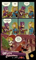 Merry Christmas from Batgirl and Supergirl by mikemaihack