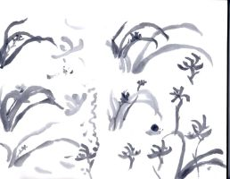 sumi-e orchid practice 3 by innsjo
