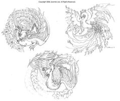 Phoenix Tattoo Designs by junosama